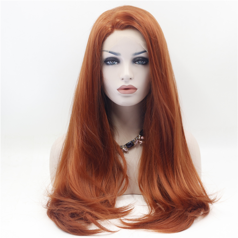 Straight Copper Red Front Lace Wig 1