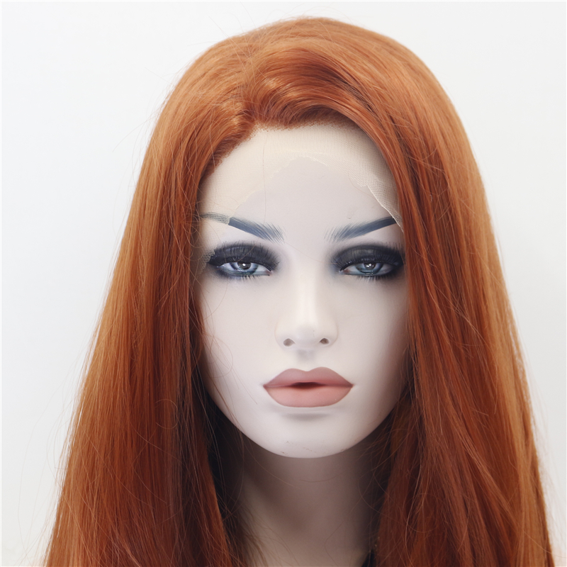 Straight Copper Red Front Lace Wig 2