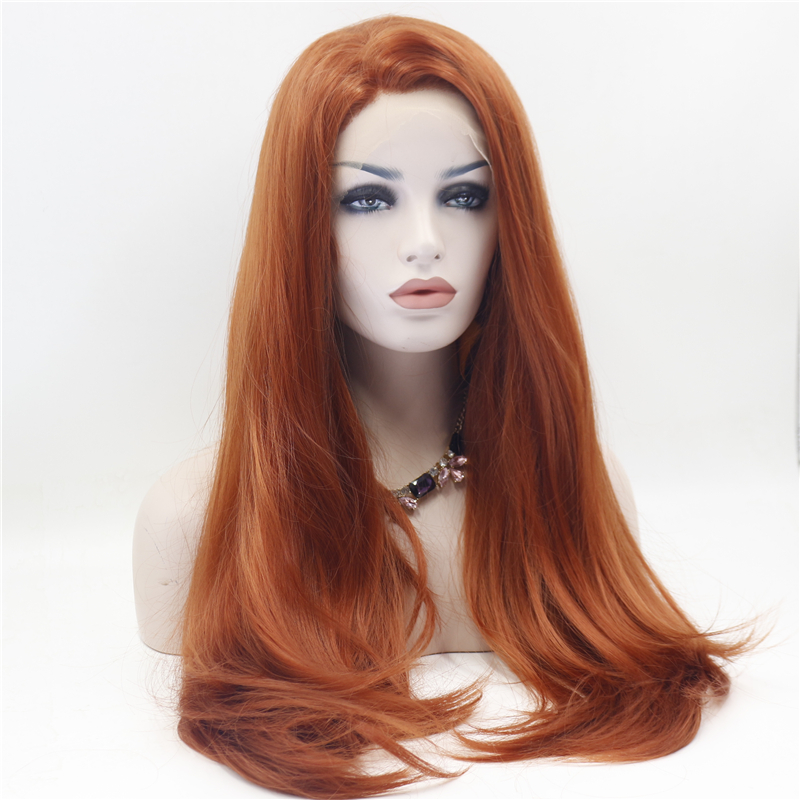 Straight Copper Red Front Lace Wig 3