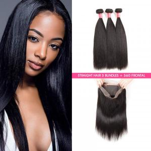 Straight Hair 3 Bundles With 360 Lace Frontal Virgin Hair