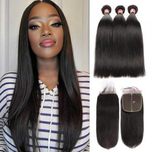 Straight Hair 7x7 Inch Lace Closure With 3 Bundles Virgin Human Hair
