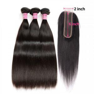 Straight Human Hair Weaves With 2x6 Inch Lace Closure Virgin Human Hair