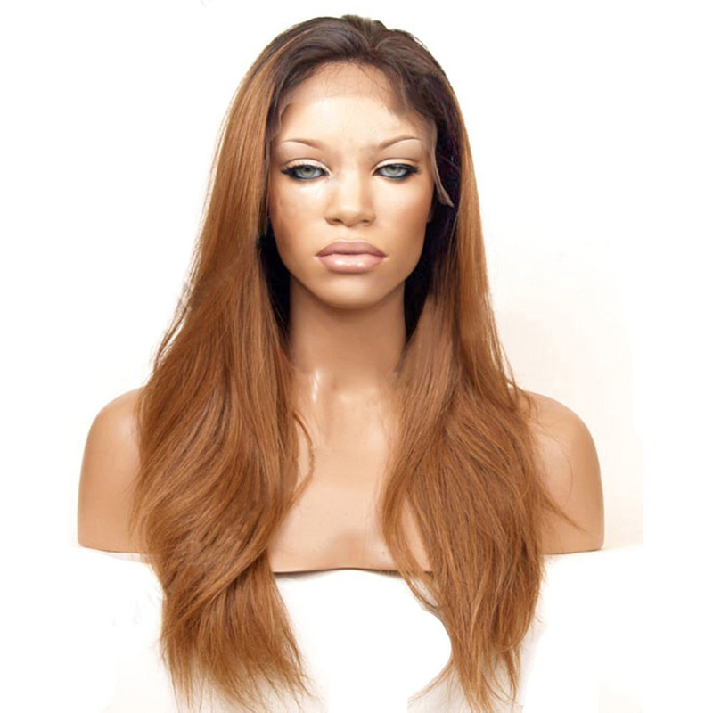 Straight Ombre Brown Front Lace Wig For Women