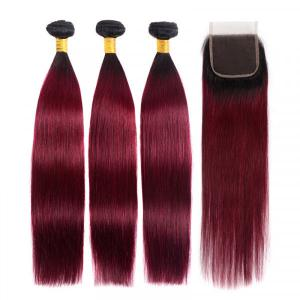 Straight Ombre Hair 3 Bundles With Closure 1B/99J Burgundy