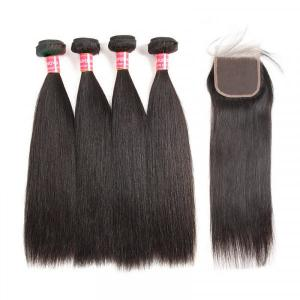 Straight Weave Hairstyles Malaysian Hair 4 Bundles With Lace Closure