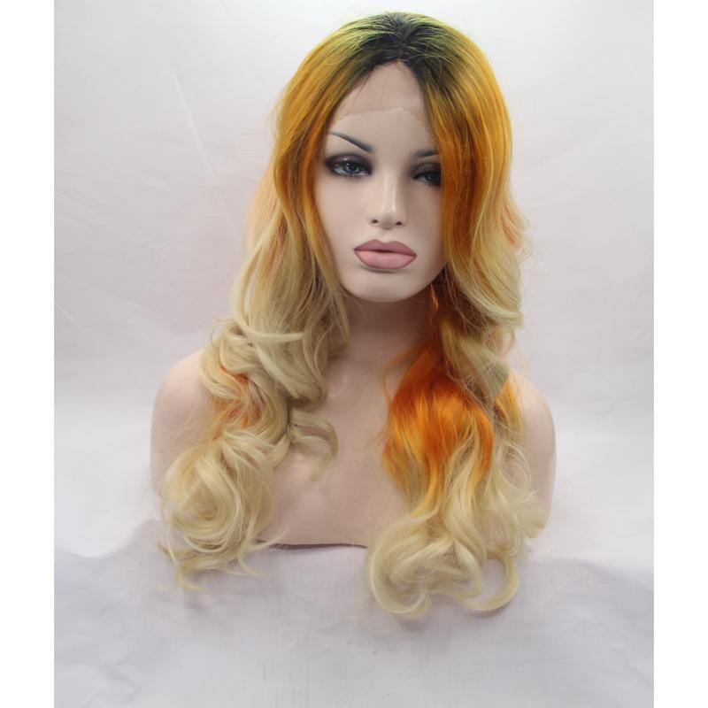 Stylish Blonde Mix Orange Ombre Wave Lace Front Wig