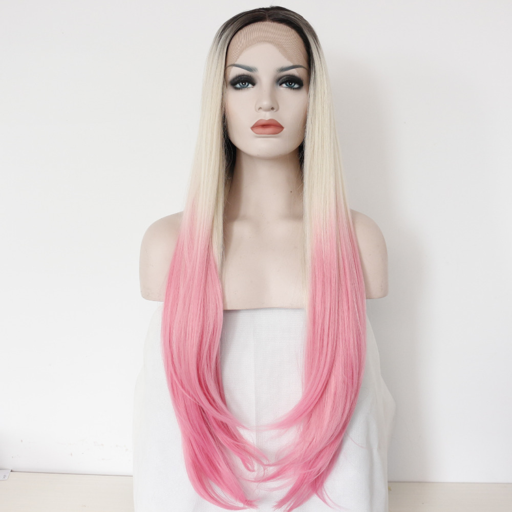 Stylish Silk Straight Ombre Synthetic Glueless Lace Front Wig
