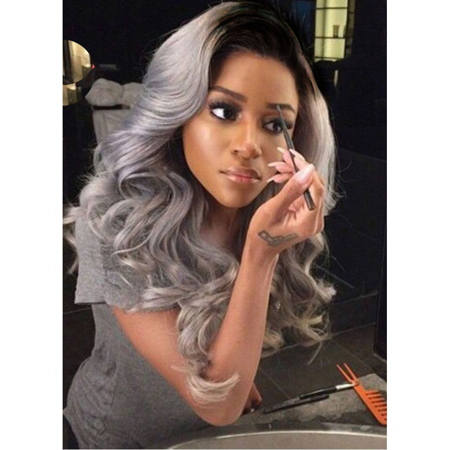 Stylish Silver Grey Glueless Long Wavy Lace Front Wig