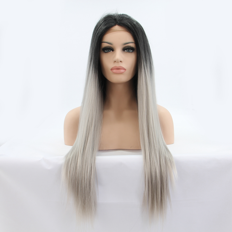 Stylish Straight Dark Roots Grey Synthetic Lace Front Wig