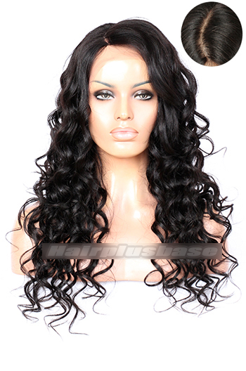 22 Inch Yaki Curly Side Swept Bangs Indian Remy Hair Lace Front Wigs