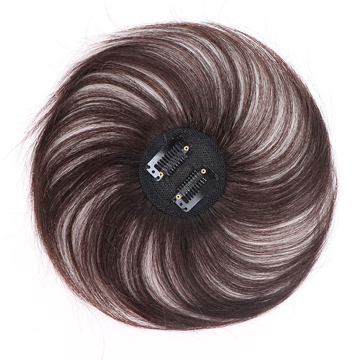 Clip-On Hair Topper Human Hair Hairpiece for Women (Dark Brown)