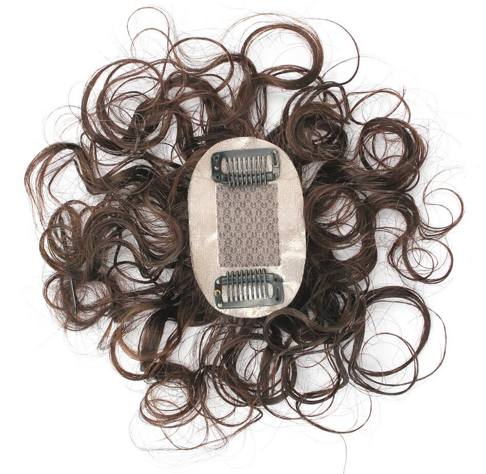 "6"" Handtied Mono Top Hair Pieces Clip in Topper Closure Curly Human Hair Top Piece for Women Thin Hair Chestnut"