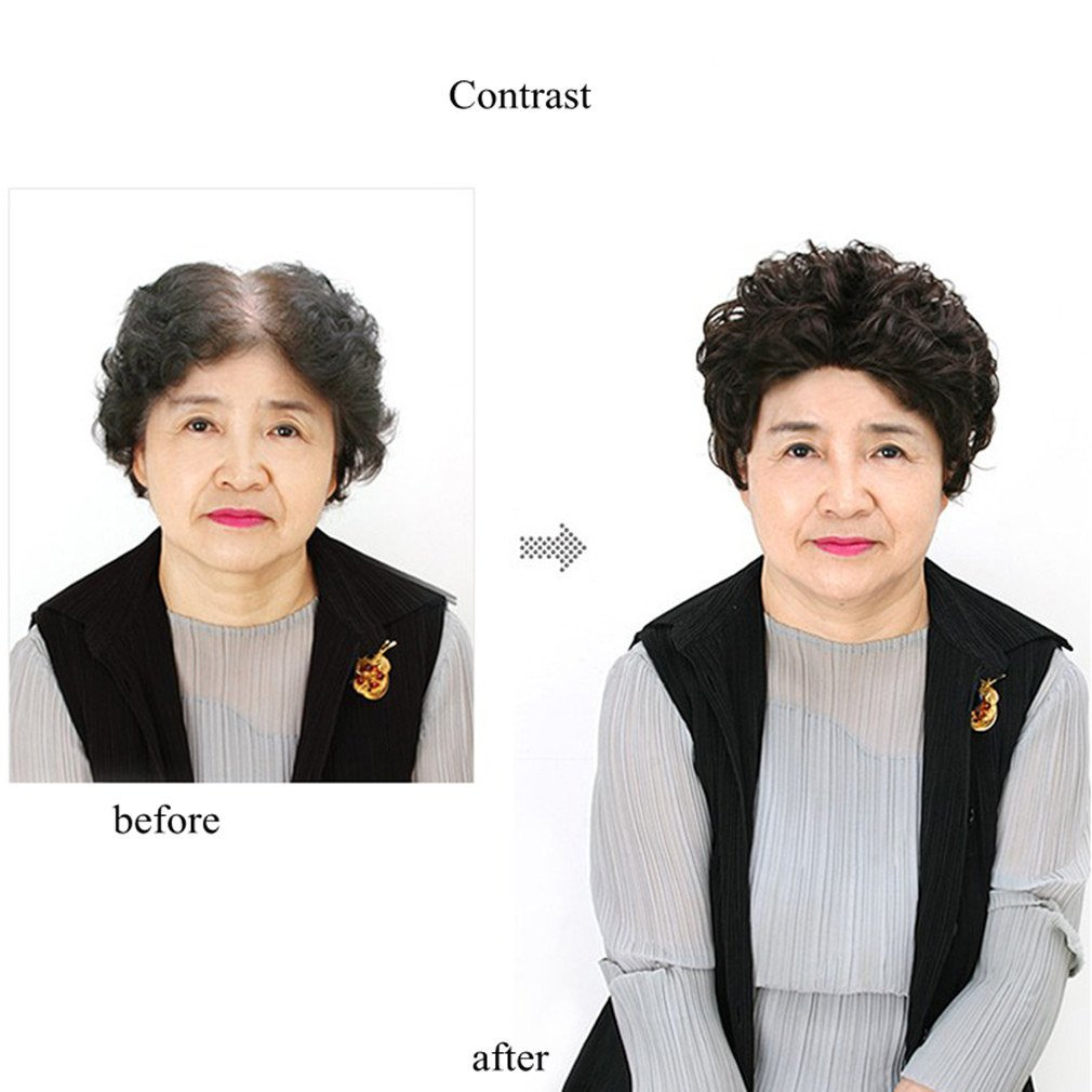 The New Short Hair In The Elderly Short Hair Curly Hair Top Hairpiece 100% Human Hair Wigs 3