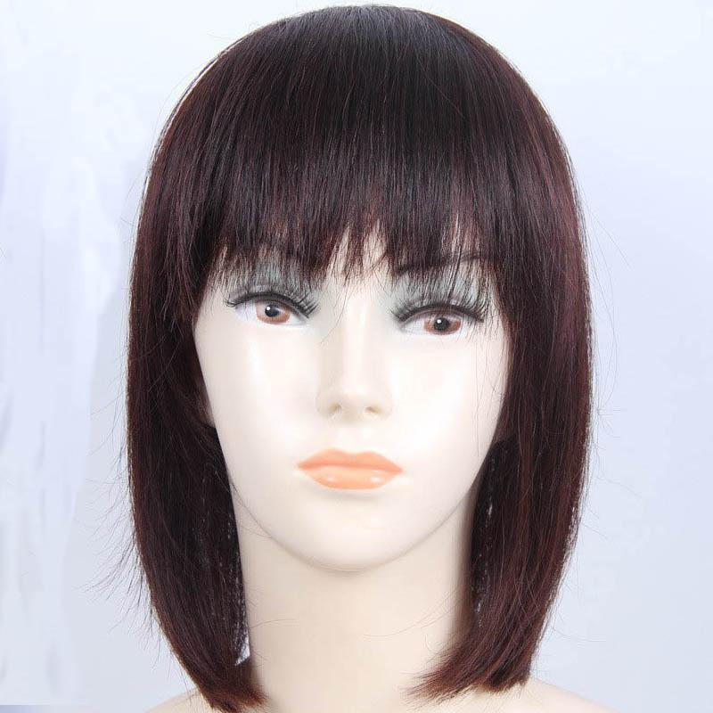 "Top Closure 13.7"" Hair Piece W/ Fringe Bang Short Straight For Hair Loss"