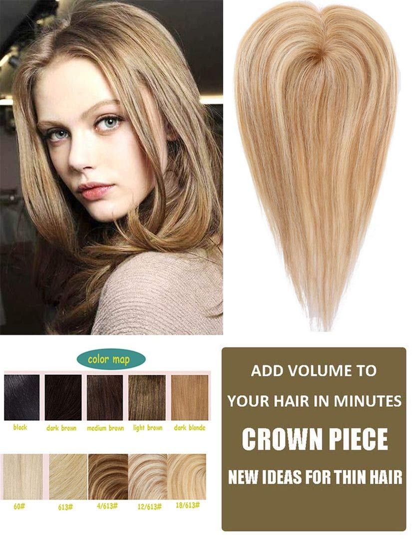 Top Hair Pieces Silk Base Topper Human Hair Clip in Hair Toppers for Women with Thinning Hair 4