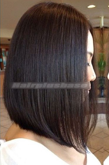 14 Inch Trendy Long Bob Hairstyle Black Virgin Hair Lace Wigs