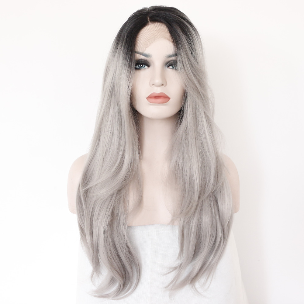 Two Tones Ombre Lace Front Wig with Black to Gray Gradient Heat Resistant Hair 0