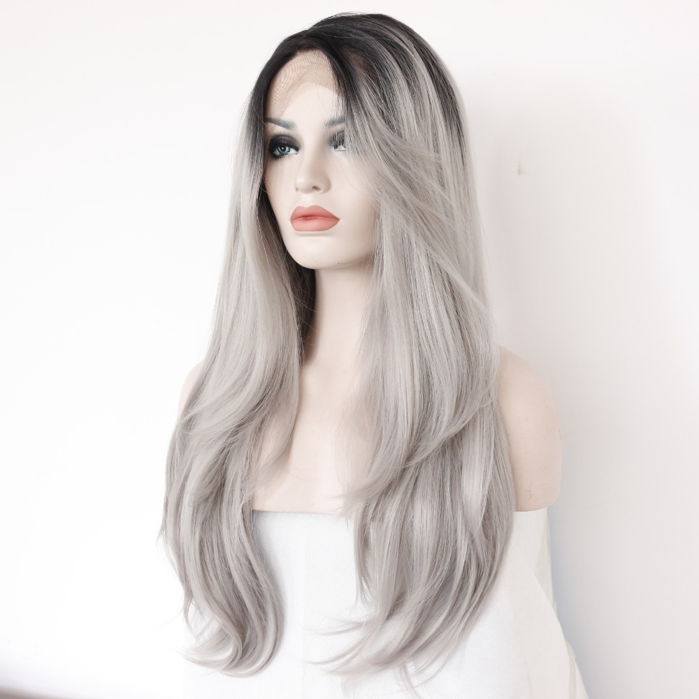 Two Tones Ombre Lace Front Wig with Black to Gray Gradient Heat Resistant Hair 2