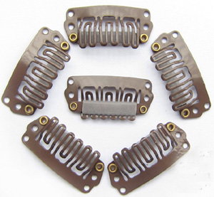 U-insection 2.8cm Brown Steel Hair Extension Clips 20pcs