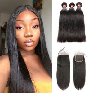 Virgin Straight Malaysian Hair 3 Bundles With Lace Closure