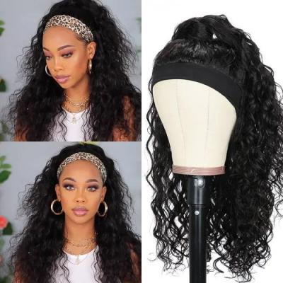 Water Wave Headband Wig Human Hair Wigs With Pre-attached Scarf Natural Color