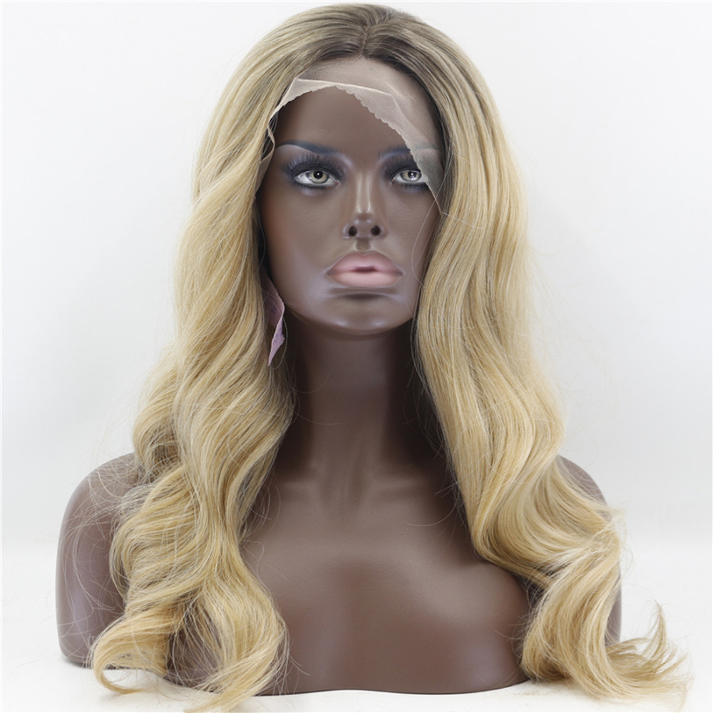 Wavy Brown To Blonde Glueless Synthetic Lace Front Wigs