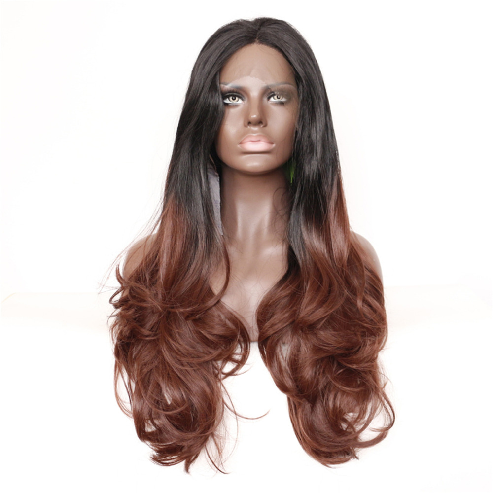 Wavy Two Tone Ombre Synthetic Lace Front Wigs