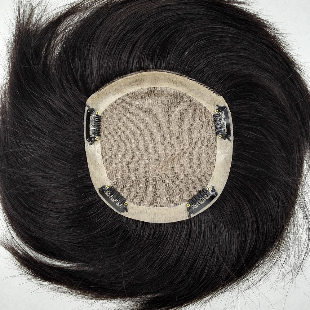 Womens Clip in Real Human Hair Toppers 5.5 Inch x 5.5 Inch Silk Base Large Crown Topper Wiglet for Thinning Hair 2
