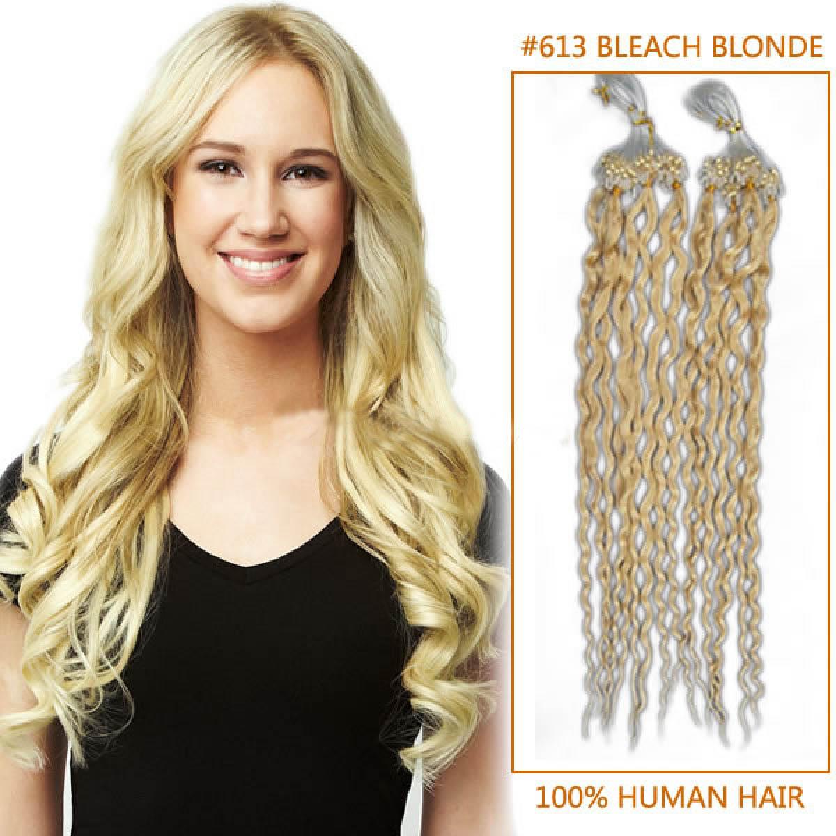Wonderful 16 Inch 613 Bleach Blonde Curly Micro Loop Hair