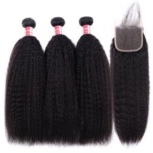 Yaki Straight Hair 3 Bundles With Lace Closure Kinky Straight Human Hair