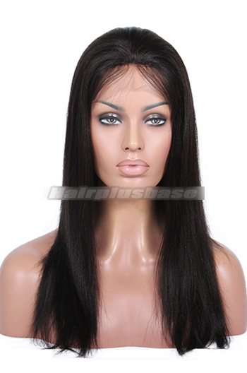 16 Inch Yaki Straight Indian Remy Hair Glueless Lace Front Wigs